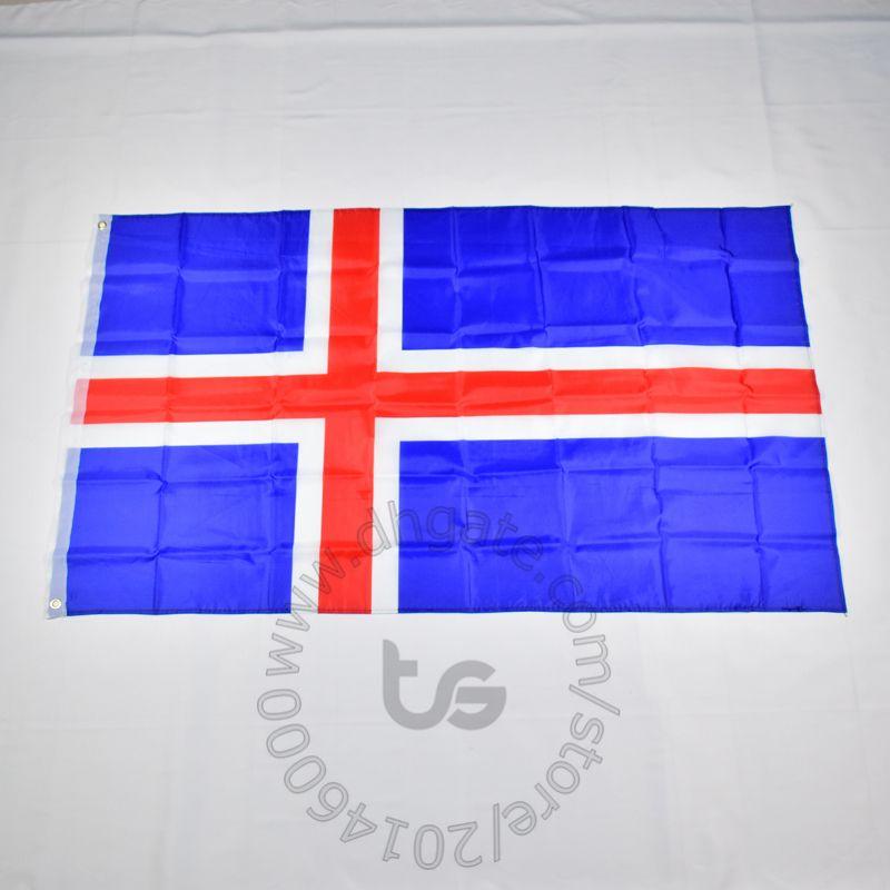 아이슬란드 국기 무료 배송 3X5 FT / 90 * 150cm 매달려 국기 아이슬란드 홈 장식 플래그 배너