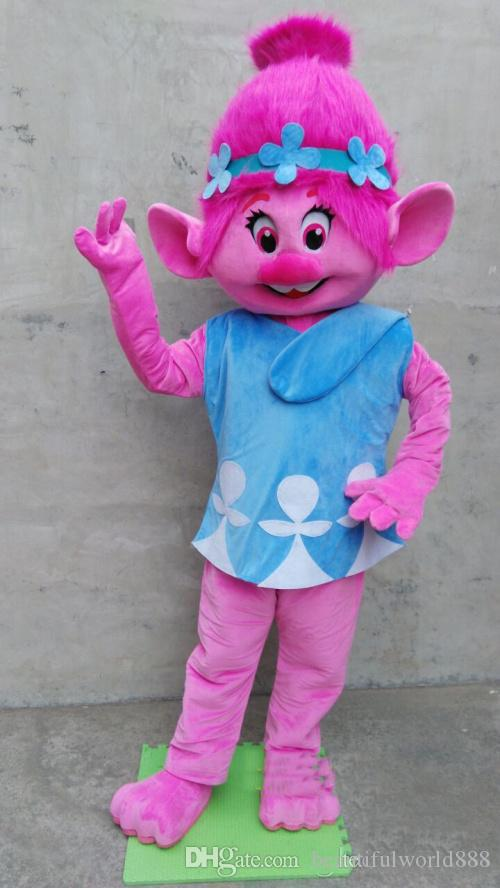 2018 High quality Deluxe Troll Princess Poppy Mascot Costume Adult Troll Fancy Suit Free Shipping