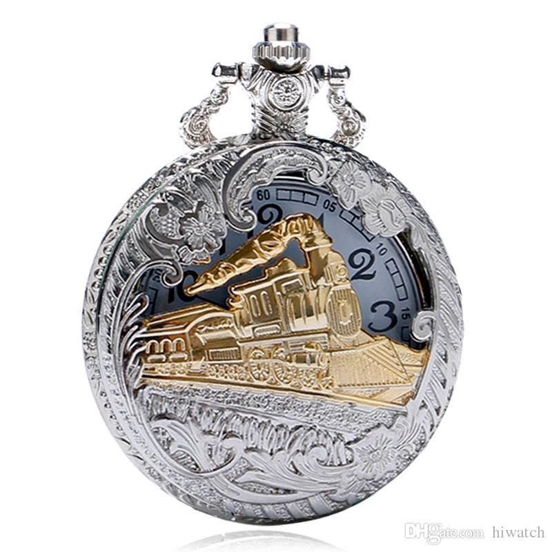 Steampunk de prata do ouro trem de ouro esculpida oco de quartzo relógio de bolso das mulheres dos homens colar de pingente de relógio presentes
