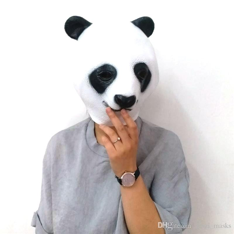 Hanzi_masks Cute Panda Head Latex Mask Lifelike Giant Panda Mask Halloween Cosplay Costume Prop Breathable Festival Party Supplies