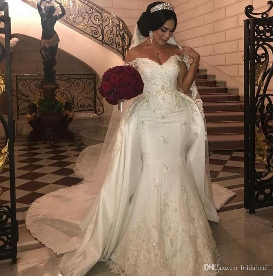 Afrykańskie Overtkirts Suknie Ślubne Plus Rozmiar Koronki Aplikacje Off The Ramię Syrenka Suknia Ślubna Koraliki Cekiny Plus Rozmiar Suknie Ślubne