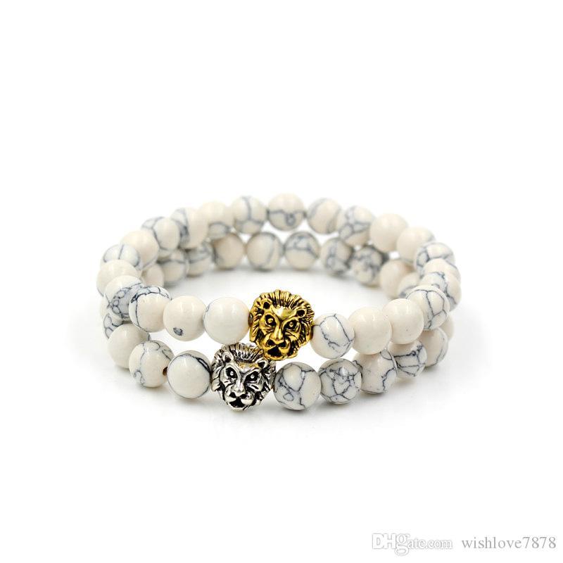 8mm Naturel Blanc Howlite Pierre Perle Bracelet pour les femmes, Antique Silver Gold Couleur Lion Head Charm Élastique Yoga Bracelet Bijoux