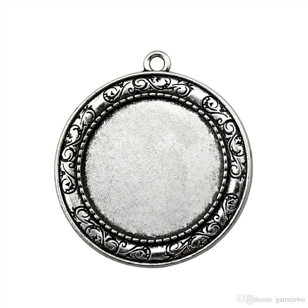 6 Pieces Cabochon Cameo Base Tray Bezel Blank Wholesale Lots Bulk Lines Single Side One Hanging Inner Size 30mm Round cameos and cabochons