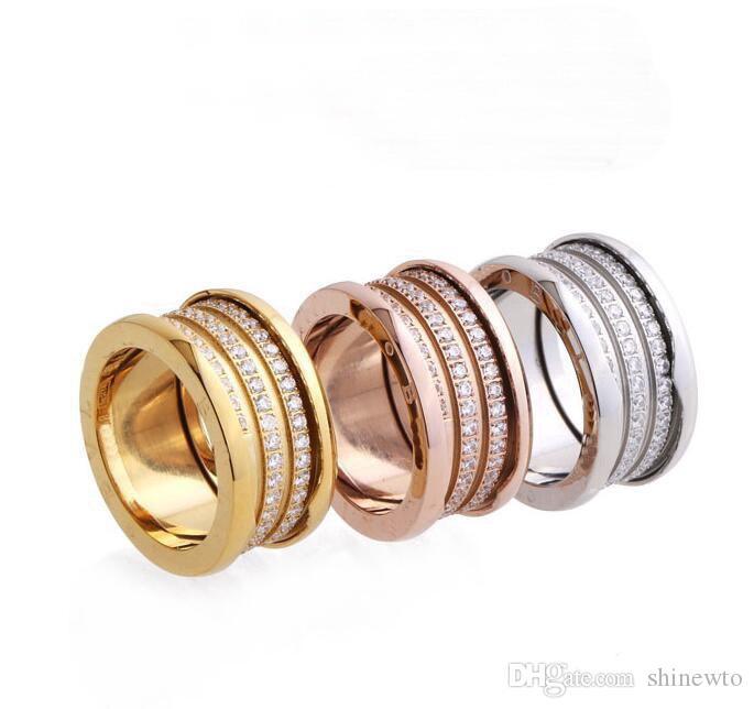 Alta calidad moda acero titanium 316l tres filas hilo de rosca de diamante compromiso de la boda 18 K chapado en oro anillos anchos Size6-9