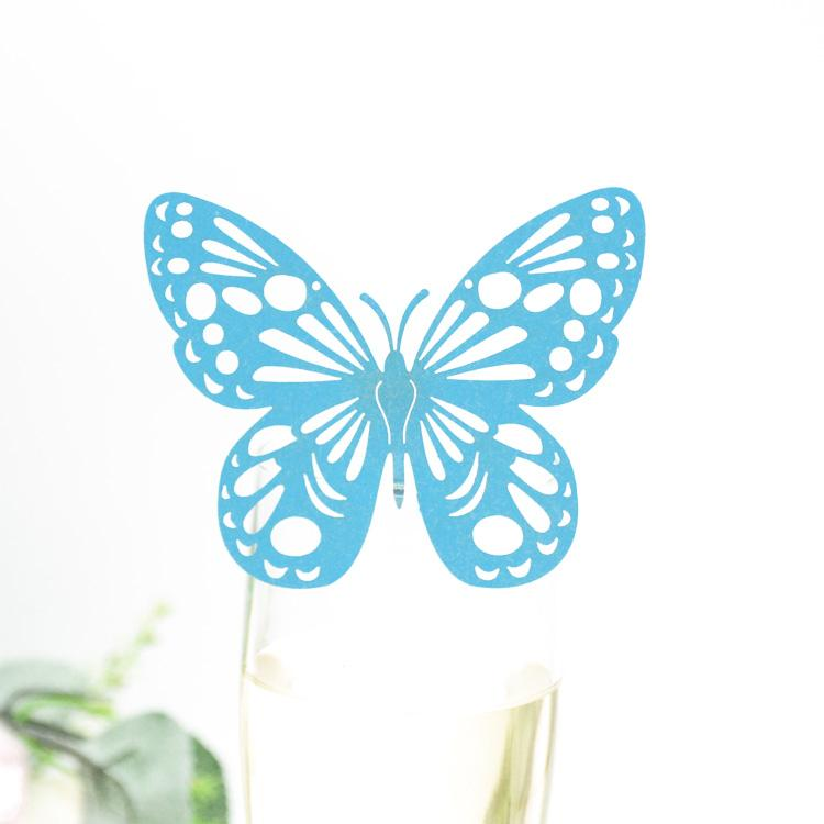 Free shipping Colorful elegant butterfly laser cut wedding wine glass card