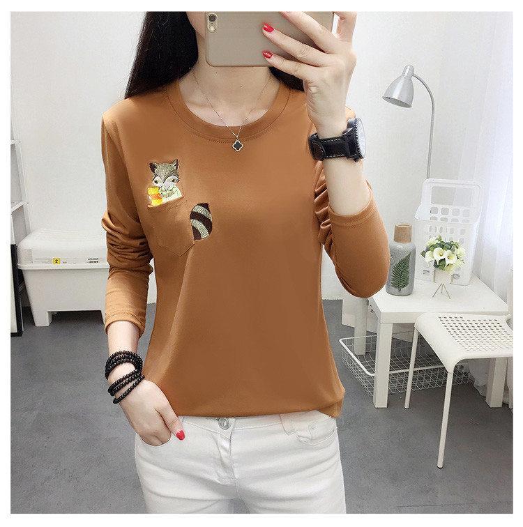Embroidery T-shirts Women Tshirt O-neck Long Sleeve T-shirts Women Autumn Tops Tee Shirt Femme 2019 Cotton Camisetas Large Size (5)