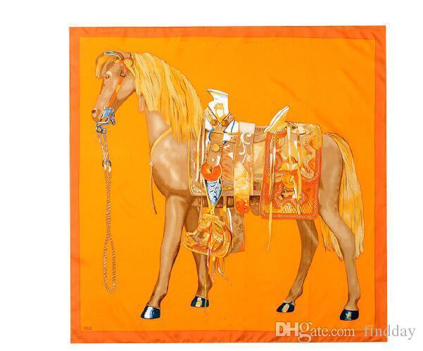 Бренд класса люкс 90 см 90 см 100% Саржа шелк евро Марка французский дизайн шарф подарок H шелковая лошадь шаблон печатных женщин подарок шелковые шарфы Леди подарок