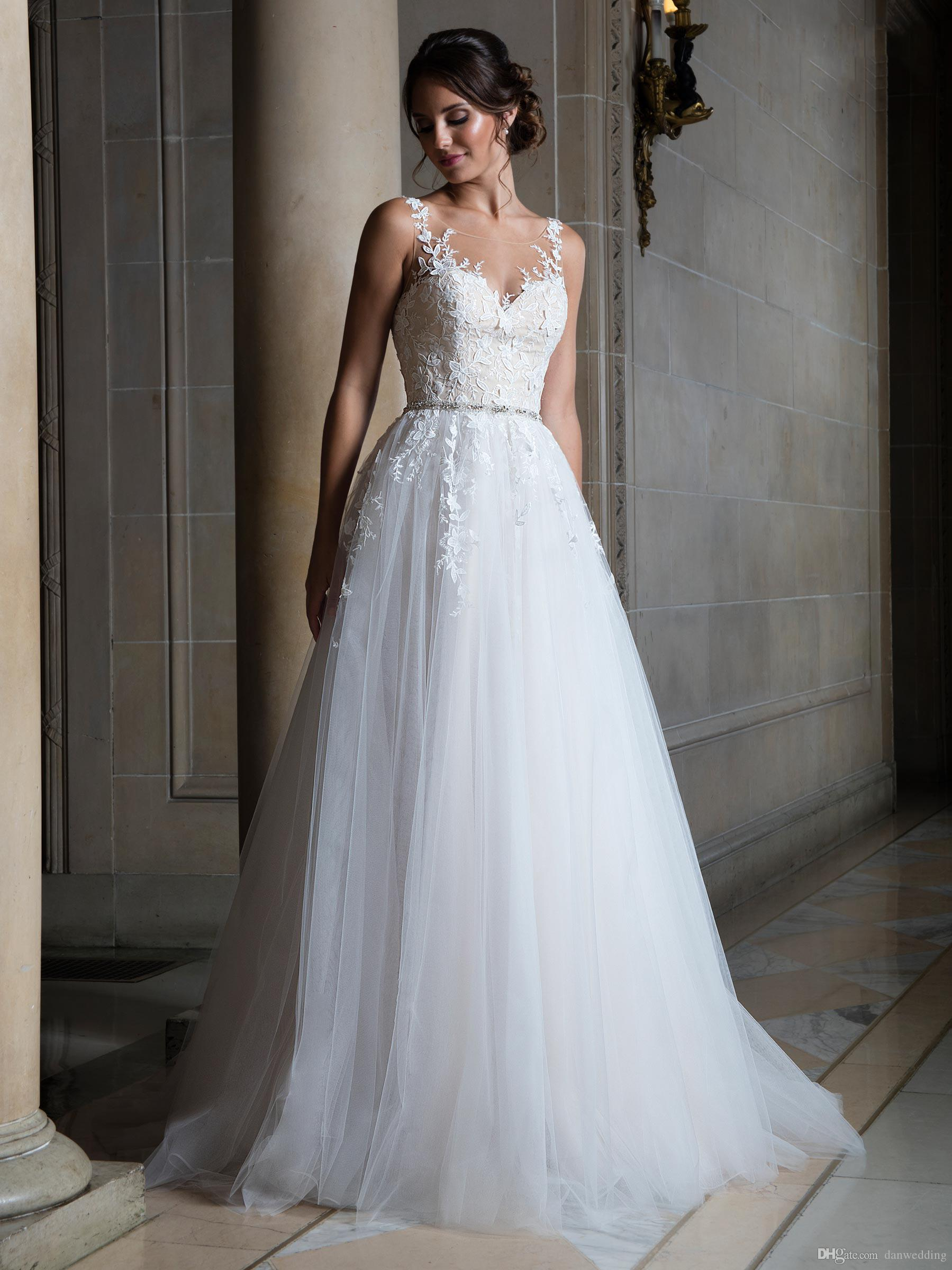 Beauty White Tulle Scoop Applique Beads A-Line Wedding Dresses Bridal Pageant Dresses Wedding Attire Dresses Custom Size 2-16 KF1014140