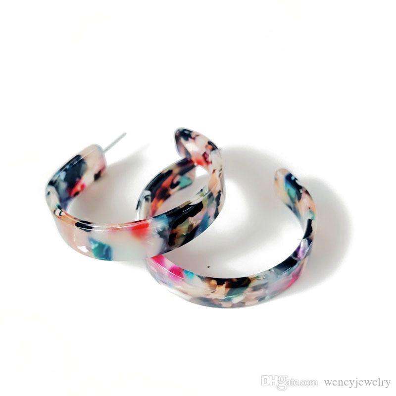Новый дизайн смешанный цвет смолы сладкой элегантной богемии стили C сформированные серьги, горячие продажи моды серьги