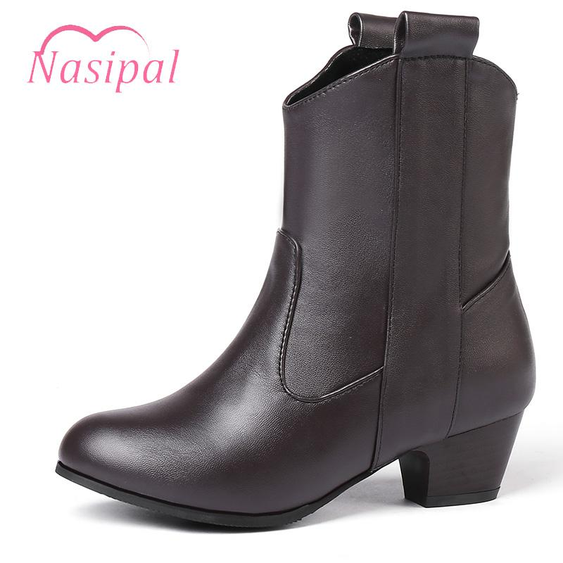 Nasipal Slip On Riding Boots Woman Fashion Med Heels New Shoes Woman Boots Casual Women Ankle Size 33-45 M980