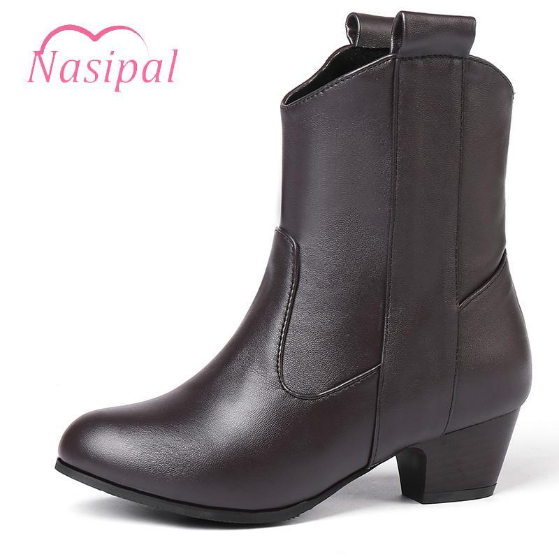 Slip Nasipal en los talones botas de montar manera de la mujer Med Nuevos Zapatos Mujer Botas Casual tobillo de las mujeres Tamaño 33-45 M980