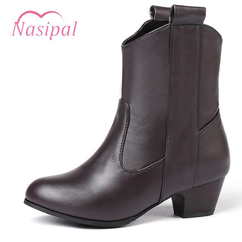 Nasipal Slip-on-Reitstiefel Frau Mode Med Heels Neue Schuh-Frauen-Boots Casual Women Ankle Größe 33-45 M980