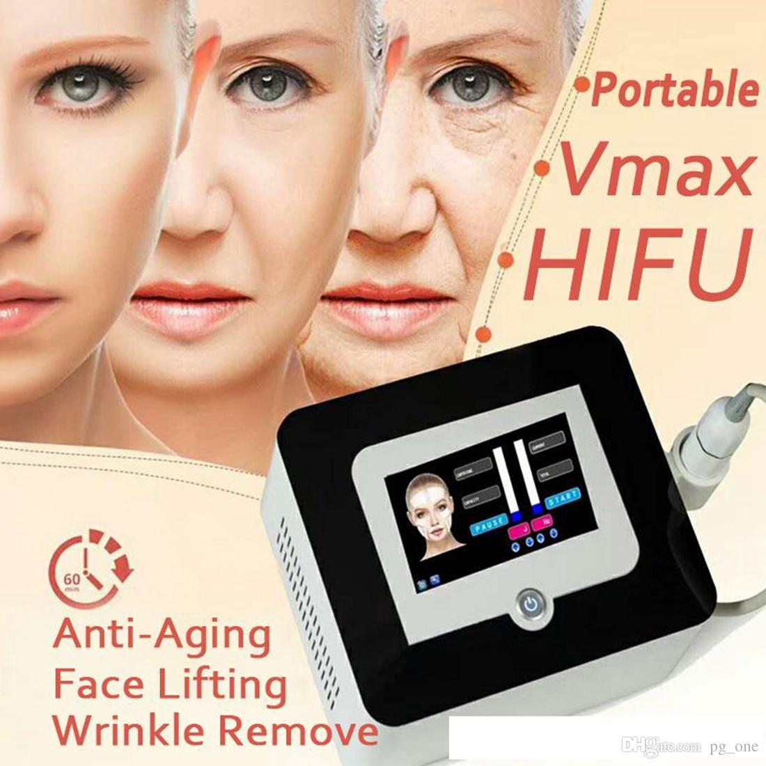 Nuevos resultados buenos Hifu Lifting facial Intensidad de alta intensidad Ultrasonido Anti envejecimiento Eliminación de arrugas Máquina Vmax Hifu con 3 cartuchos