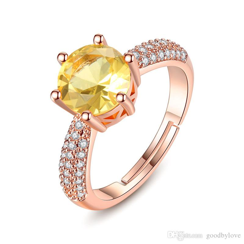 Rose Gold Plated Six Claws Big Golden CZ Clear Crystals Cluster Adjustable Finger Ring Fashion Womens Jewelry Bijoux for Party