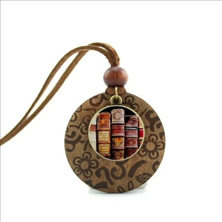 NWL-002 New Design Long Wood Necklaces Book Spines Pendant Vintage Book Jewelry Gift for Reader or Writer Picture Necklace