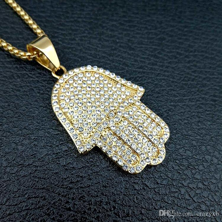 free chain mens jewelry hip hop bling sized micro pave cubic zirconia hamsa hand icedd out cool mens chain necklace