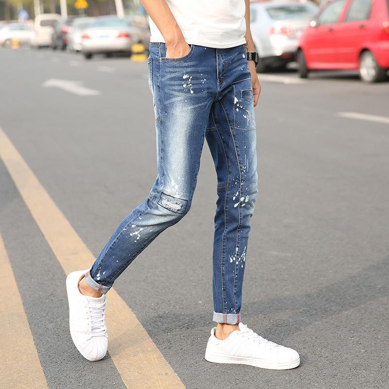 Toptan YENİ erkek kot küçük düz tüp pantolon delik yama pantolon FS108 germek onarmak