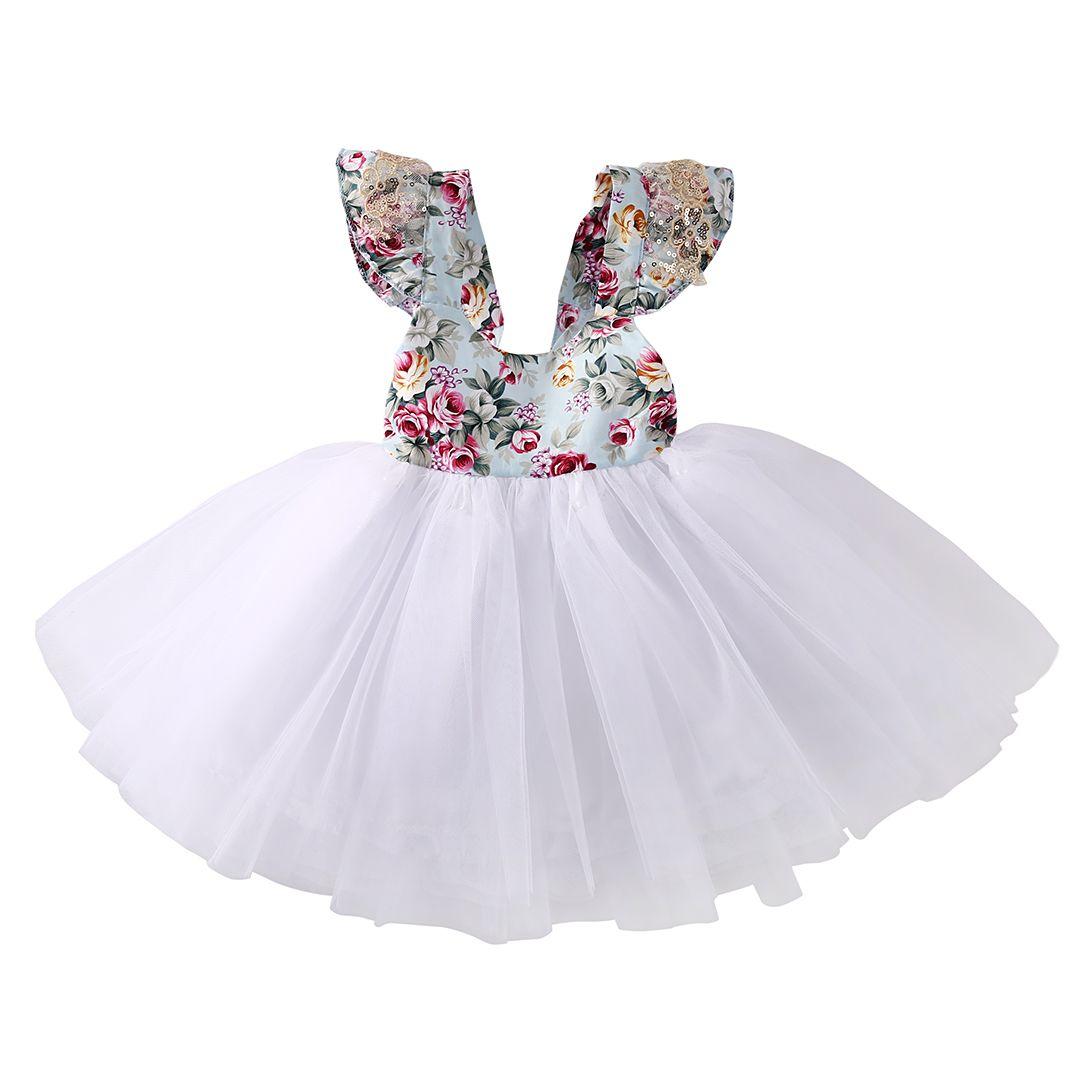 USA Newborn Toddler Baby Girls Floral Dress Princess Party Tutu Dresses Sundress