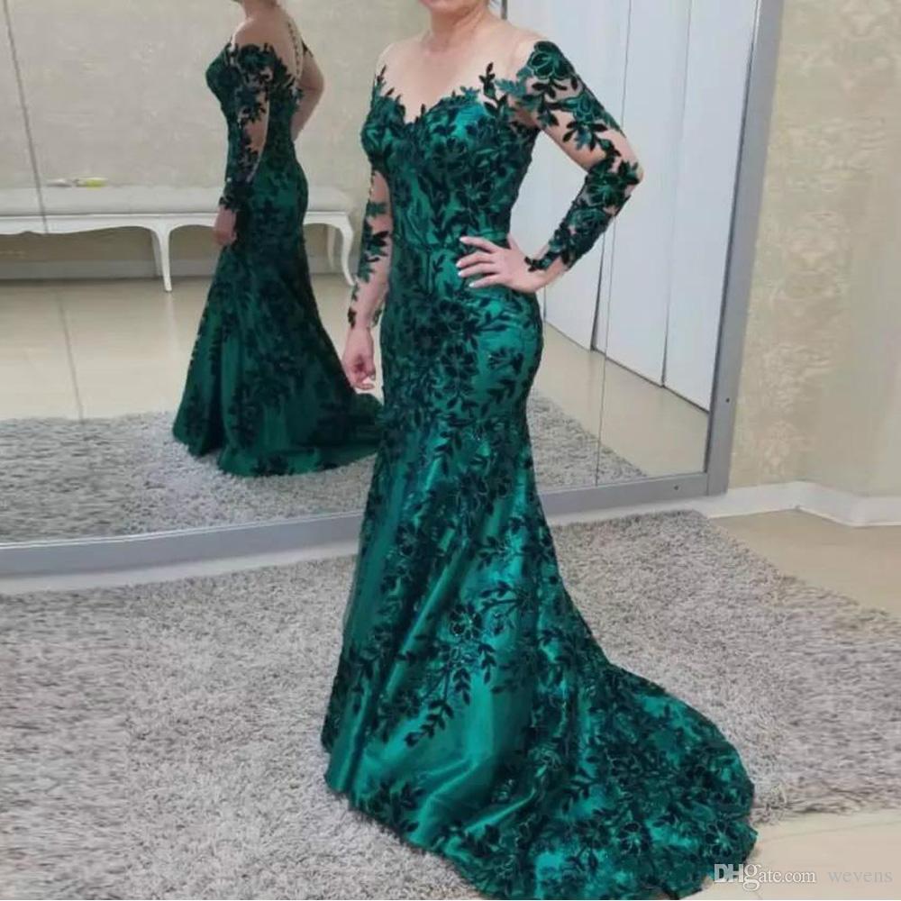 Designer Abiti in pizzo verde Sirena Abiti da sera da donna Gioiello Collo Manica lunga Abito formale Abito da sera