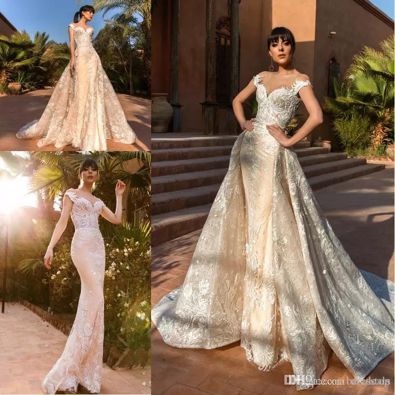 2019 nova deslumbrante sereia vestidos de casamento com trem destacável luz champanhe full lace custom made país vestidos de noiva plus size