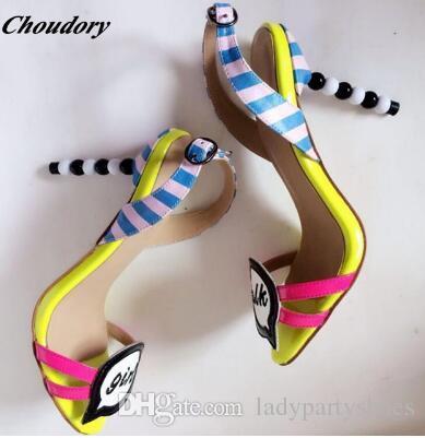 Sapatos de grife de Salto Alto doce Mulheres de Luxo 2018 Moda Cor Misturada Sandálias Das Senhoras Gladiador Sandálias Mulheres Sapatos de Festa