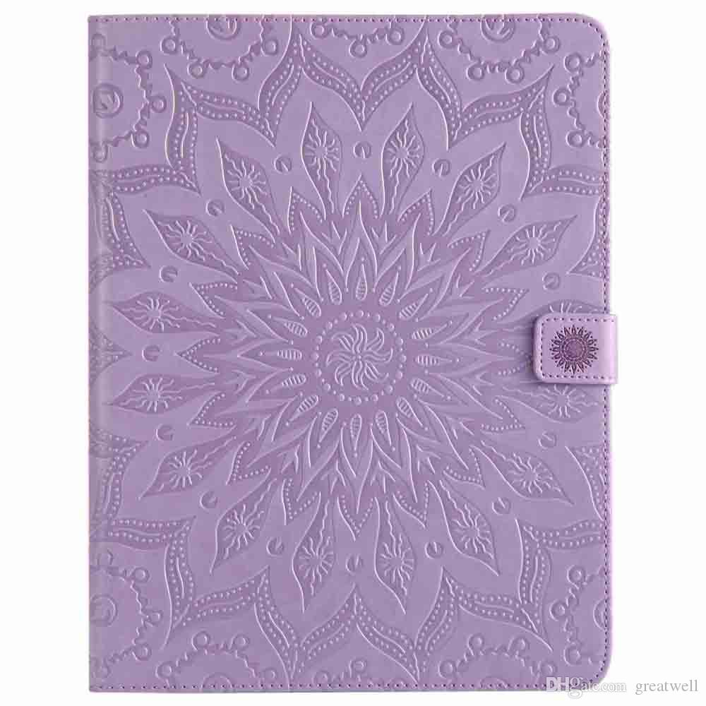 Mandala Flower Embossed Sleep Wake UP Flip Wallet Stand PU Leather case for ipad Mini 123 4 New ipad 9.7 2017 2018 234 Air 1/2 T280 T350