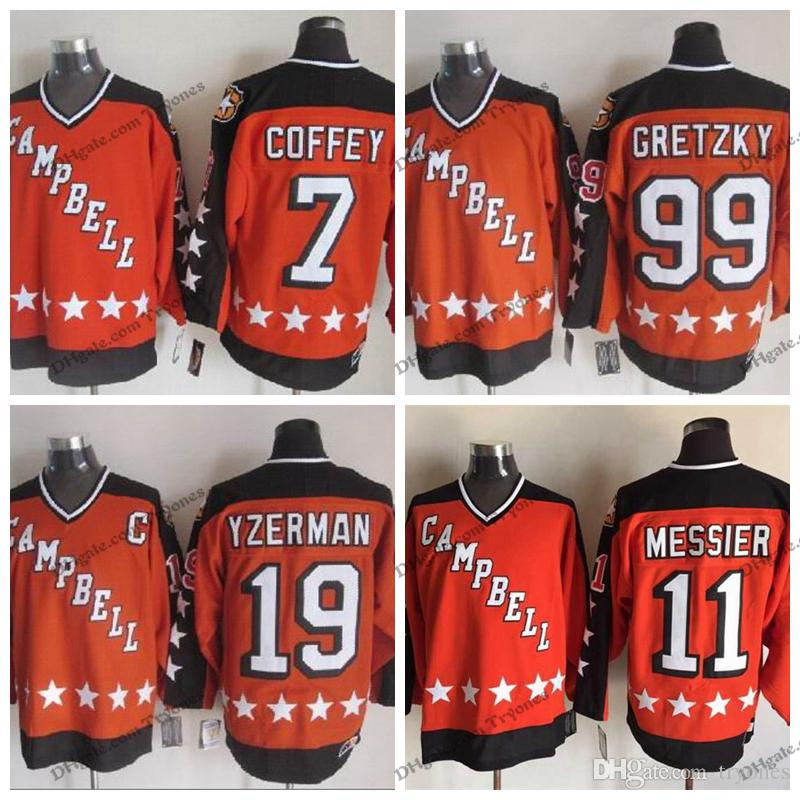 1984 Campbell All Star Game 19 Steve Yzerman 11 Mark Messier 99 Wayne Gretzky 7 Paul Coffey Hockey Jerseys Laranja costurado Shirts