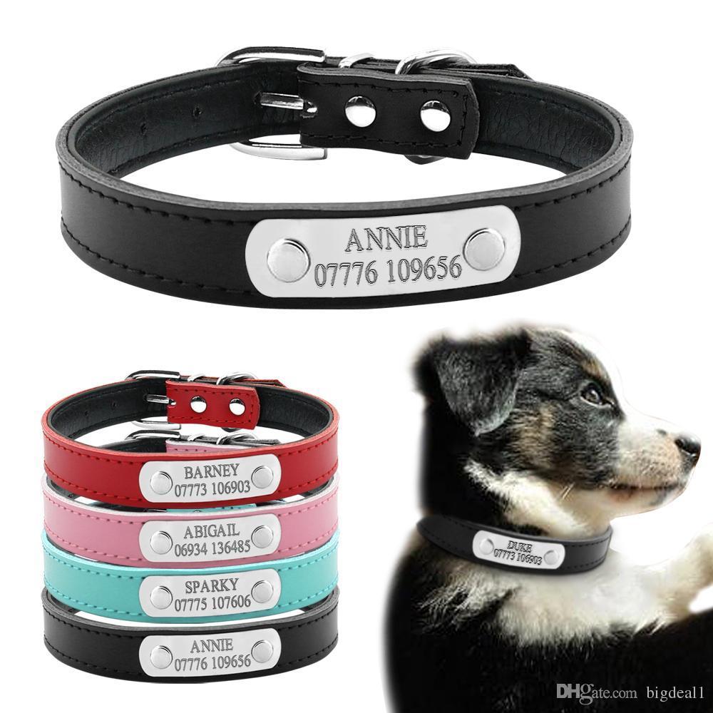 الجلود الناعمة شخصية الليزر الكلب الياقات الحرة نقش مشبك معدني مخصص القط جرو اسم الحيوانات الأليفة معرف الهاتف طوق XS S M