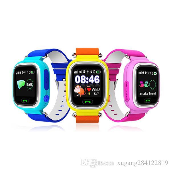 Q90 Children Baby Watch GPS Phone Alarm 1.22 Inch Color Wristwatch Touch Screen GPS Phone WIFI SOS Smart Watch PK Q50