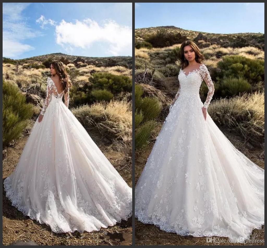 2019 Новое скромное свадебное платье с длинными рукавами и кружевными аппликациями. Свадебное платье с открытой спиной.