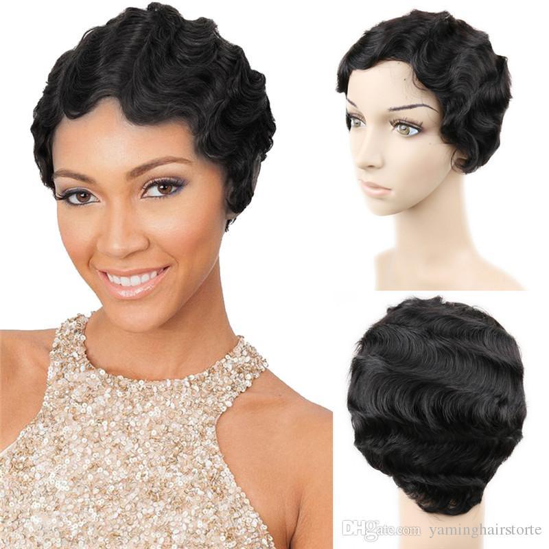 브라질 레미 헤어 짧은 물결 모양의 Fringer 웨이브 가발 여성을위한 100 % 인간의 머리 가발 엄마의 가발