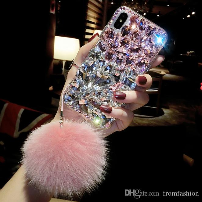 Bling Crystal Diamond Fox Fur Ball Pendant Case Cover For Iphone 11 Pro Max XS Max XR X 8 7 6S Plus Samsung Galaxy Note 10 9 8 S10E/9/8 Plus