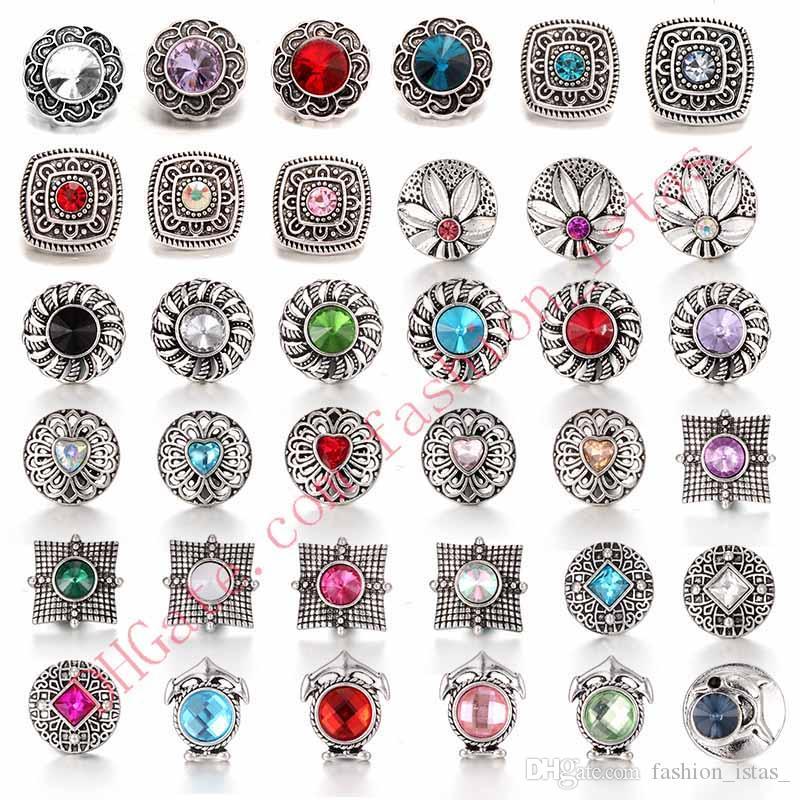 un gran numero di gemme artificiali stile Noosa Chunks strass dolp lega pulsante a scatto gioielli fai da te Snap Fit 18mm bottoni automatici regalo bracciali