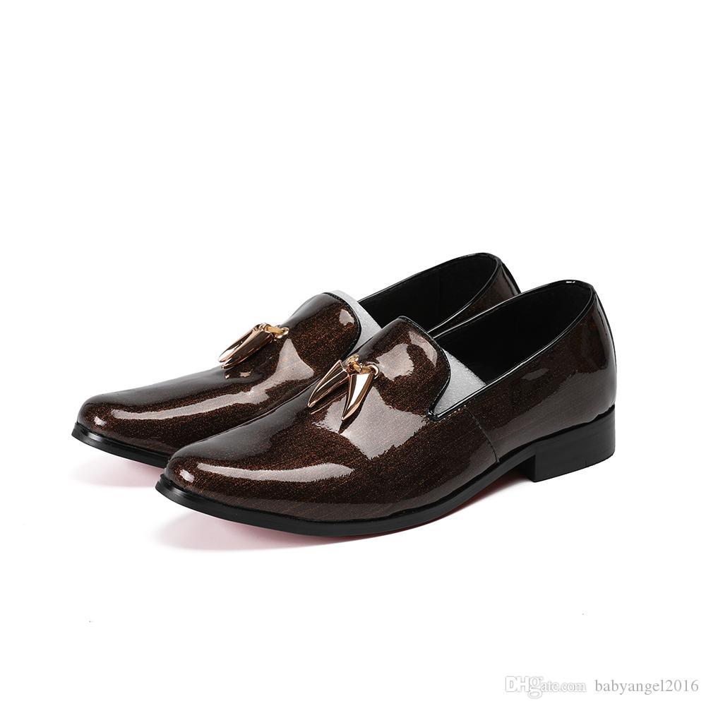 zapatos hombre mens schuhe casual loafers patent echtem leder beleg auf kleid hochzeit schuhe brogues männer runde kappe wohnungen