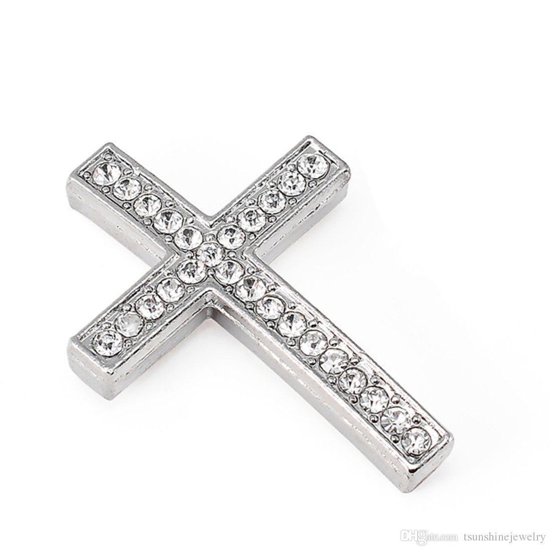 Croix en métal connecteur perle bricolage shamballa bracelet couleur argent blanc cristal clair incrustation pour la fabrication de bijoux