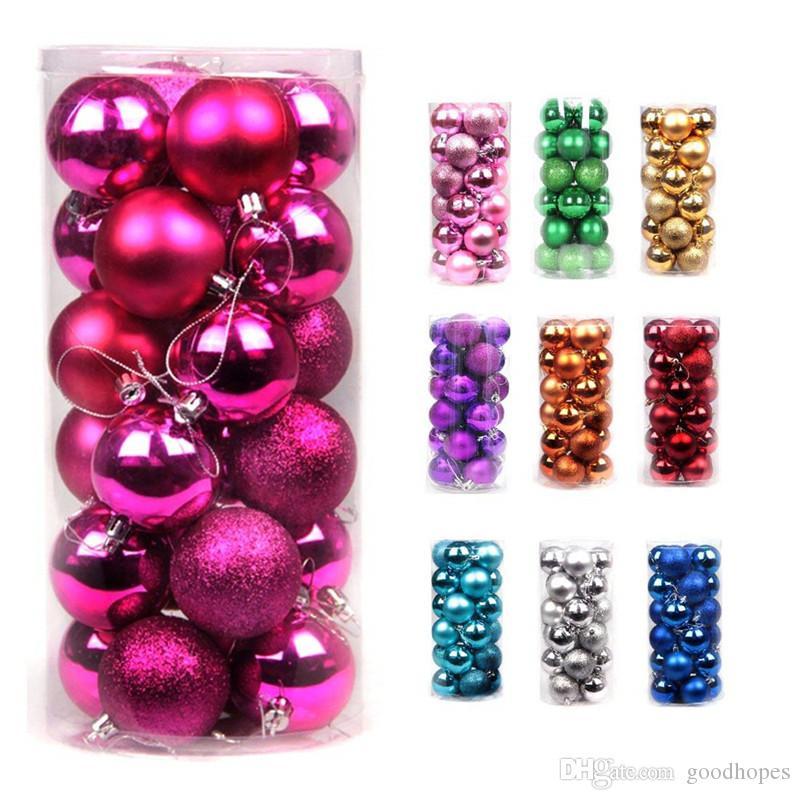 24 pcs bola de natal ornamentos decorativos árvore de Natal pingentes 40mm 60mm natal baubles bolas para festa de casamento de férias