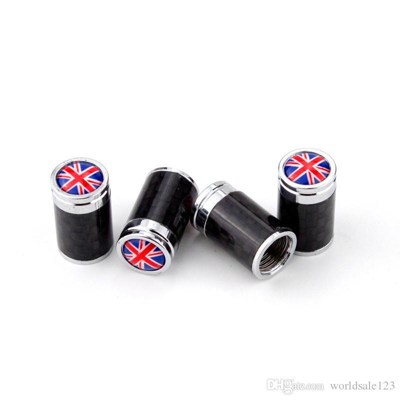 4 ШТ. / Установлен Национальный флаг Великобритания Америка Германия Флаг Франция Реальное углеродное волокно Автомобиль колесо шина шин Клапан для всех автомобилей Автосервис