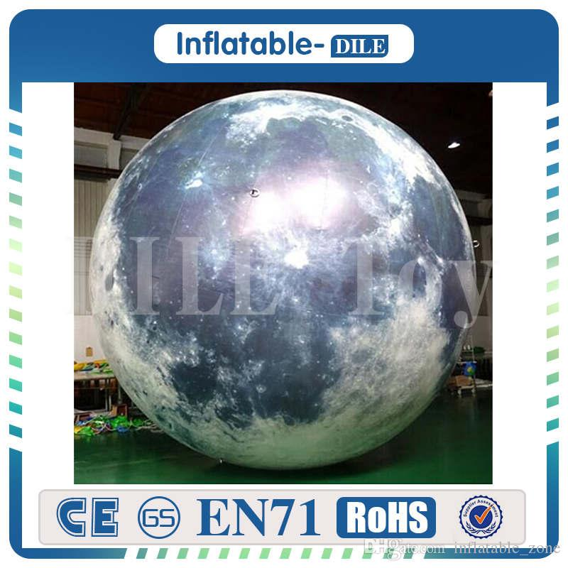 Free Shipping 2.5m Giant Inflatable Moon Balloon Light Inflatable Sphere Planets Shape Balloons For Decoration