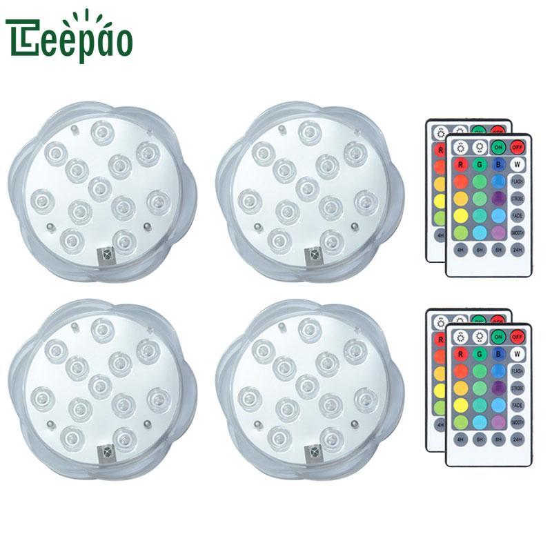 4 Adet 12 LED Sualtı Işıkları Uzaktan Kontrollü RGB Dalgıç Işık Pil Kumandalı Yüzme Havuzu ışık Lamba Bebek Yıkama Oyuncak