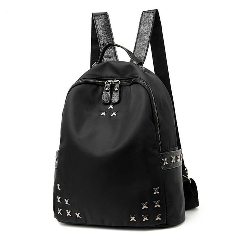 Women Backpacks Nylon Oxford Trendy Rivet Backpack Female School Bag For Teenagers Girls Travel Handbag Rucksack Shoulder School Bag