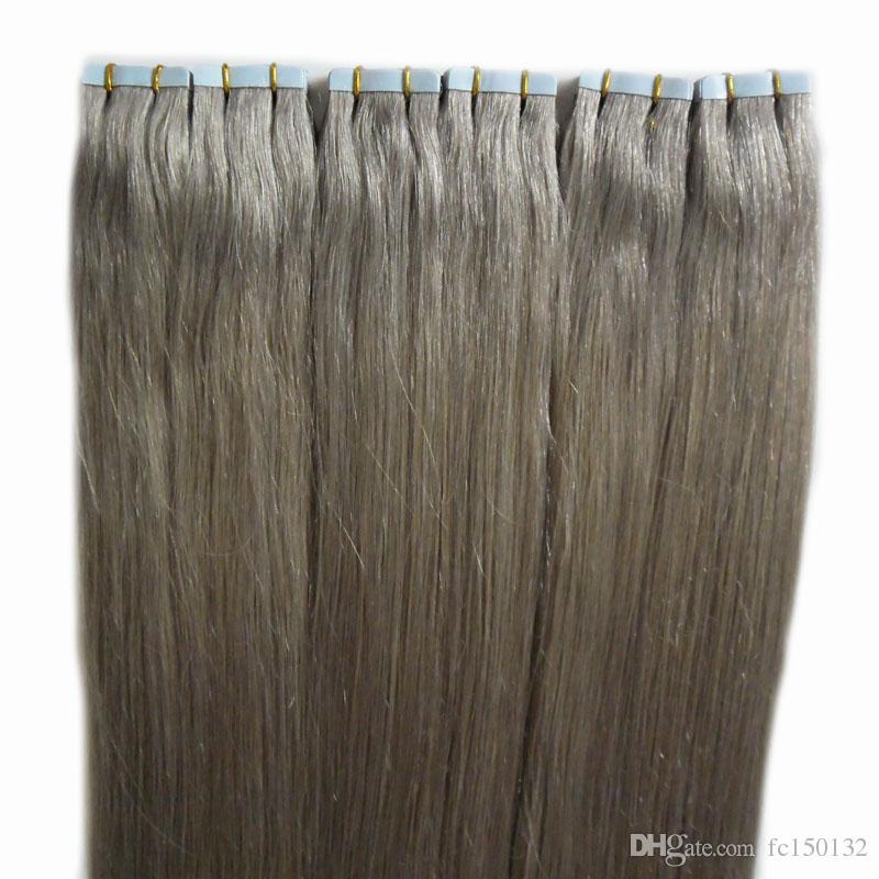 """Extensões de cabelo Cinza Do Cabelo 12 """"14"""" 16 """"18"""" 20 """"22"""" 24 """"26"""" 28 """"300g 120 pçs / set Pele Trama Fita Em Extensões Do Cabelo Humano"""