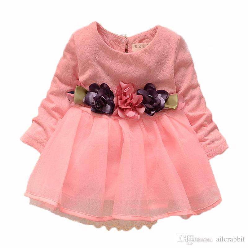Winter newborn fancy infant baby dresses girl frocks designs party wedding with long sleeves jacadi 1 year birthday dresses
