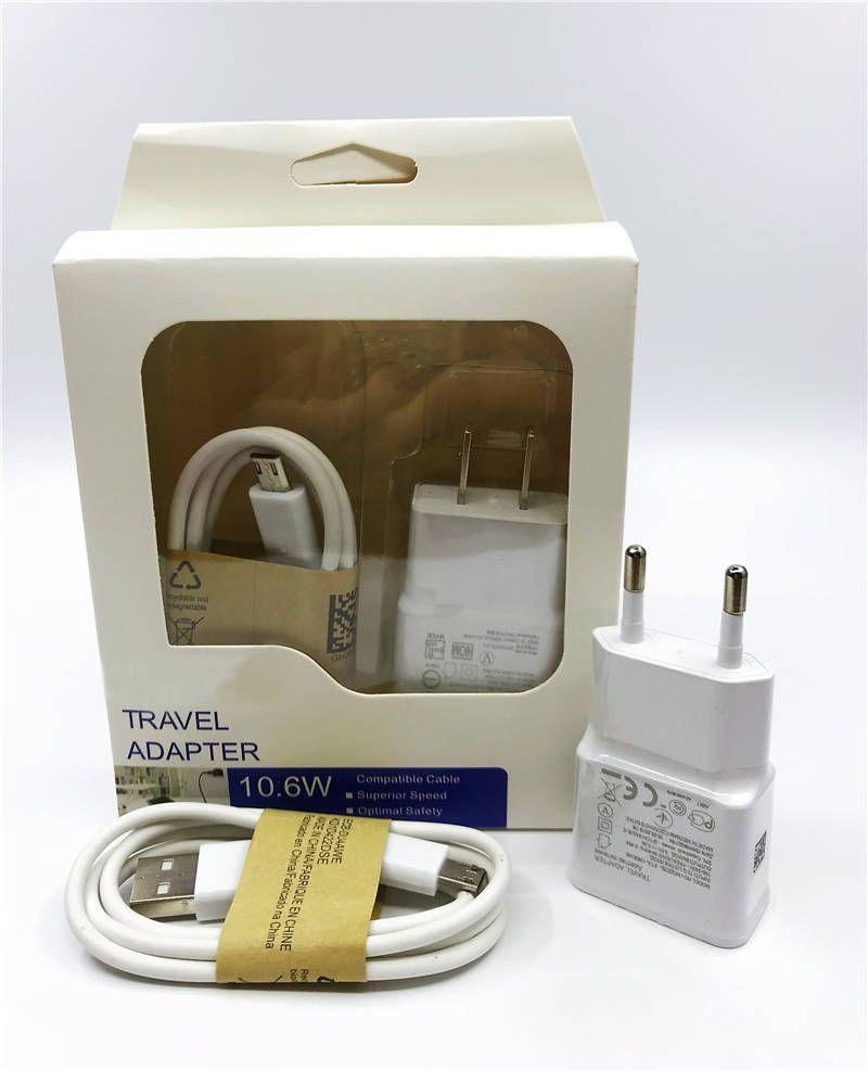 2 in 1 Ladegerät Kits 2A 2000mA US EU-Stecker-Hauptwand Ladegeräte MINI-USB-Adapter + 80cm Mikro USB-Kabel mit Kleinpaket für SAMSUNG
