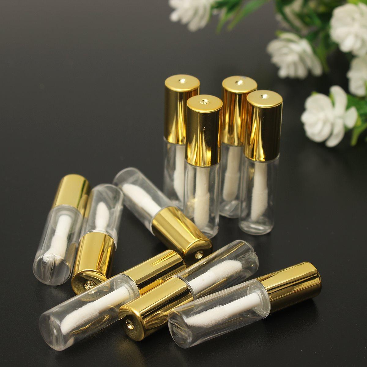 Toptan 1.2 ml Boş Ruj Tüpler Temizle Dudak Parlatıcısı Balsamı Şişe Konteyner Güzellik Aracı Altın Kap Mini Örnek Şişeleri