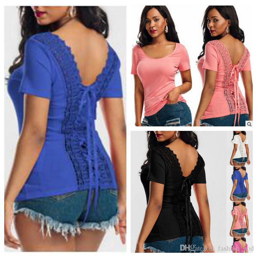 T-Shirt Kadın Dantel Seksi Gömlek Moda Rahat Üstleri Kadın Yaz Kısa Kollu Bluz Blusa Roupas Artı Boyutu kadın Vestidos Giyim B3746