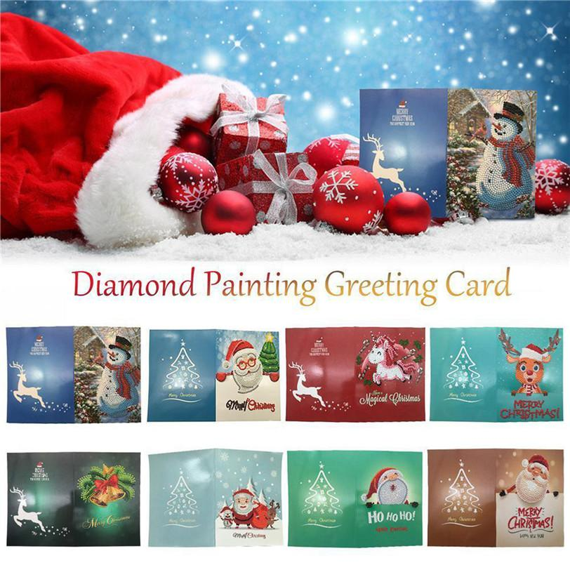 Diamond Painting Cards Merry Christmas Mosaic Cartoon Papers Greeting Greet Xmas