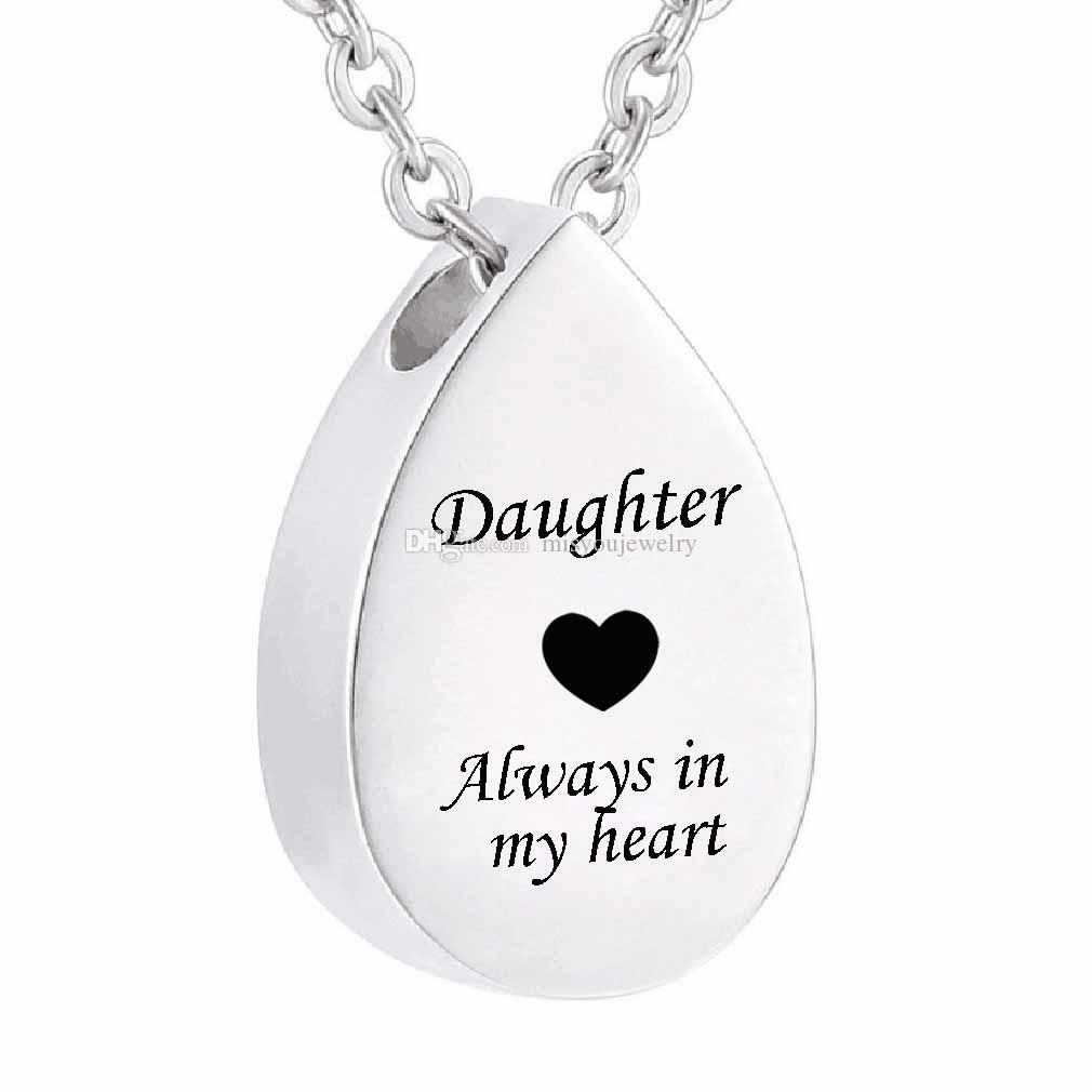 Fashion jewelry ' Always in my heart' Cremation Ashes Urn Necklace Memorial Pendant Keepsake Stainless Steel Jewelry