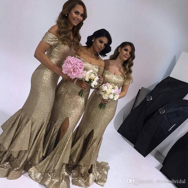 2018 Beling Bling Split Gold Sequins Mermaid Robes de demoiselle d'honneur à l'épaule Longueur de plancher Brumage Robes d'invité de mariage Plus Taille personnalisée