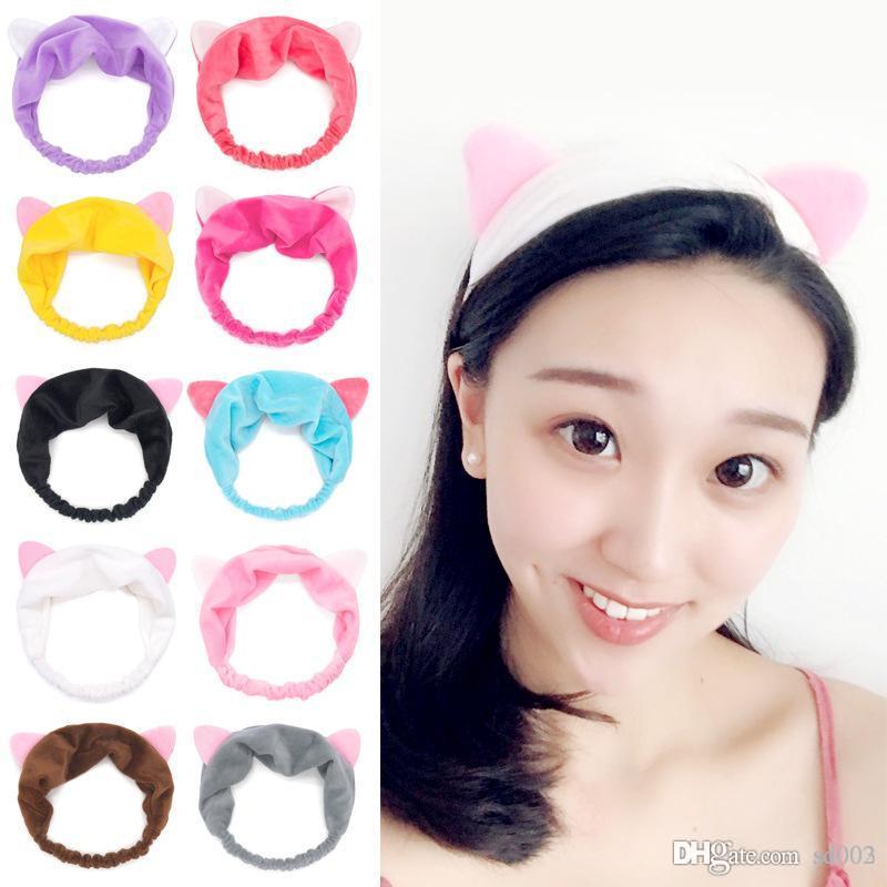 Kadın Makyaj Aracı Bandı Basit Küçük Hairband Çok Renkli Bardian Kedi Kulaklar Saç Bandı Sıcak Satış Gelgit 1 11hz dd