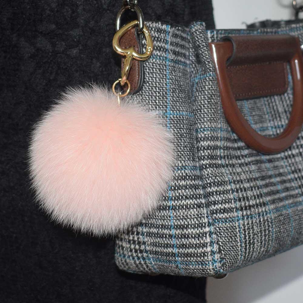 10pcs fourrure de renard naturel pompon trousseau 10cm sac charme belle fourrure de renard pompon porte-clés luxueux pompon porte-clé charme
